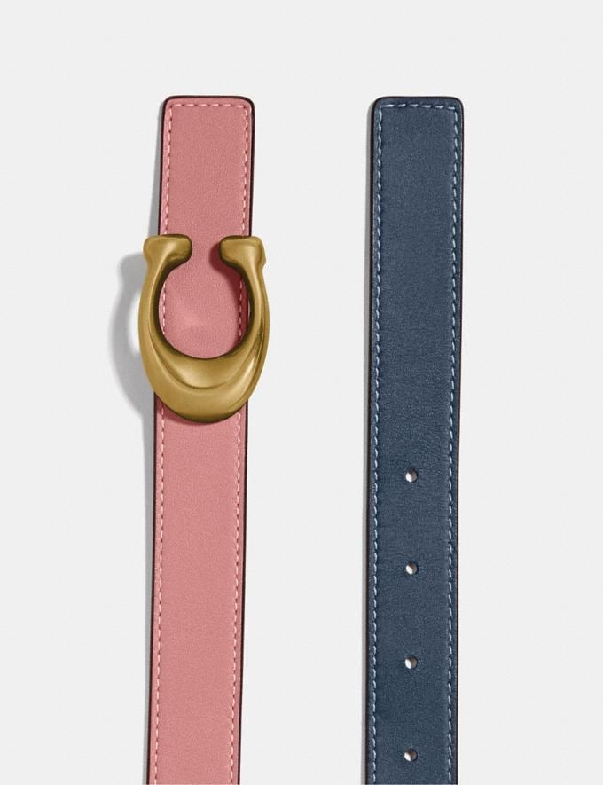 Coach Sculpted Signature Reversible Belt Ni/Denim Light Blush Men Accessories Belts Alternate View 1