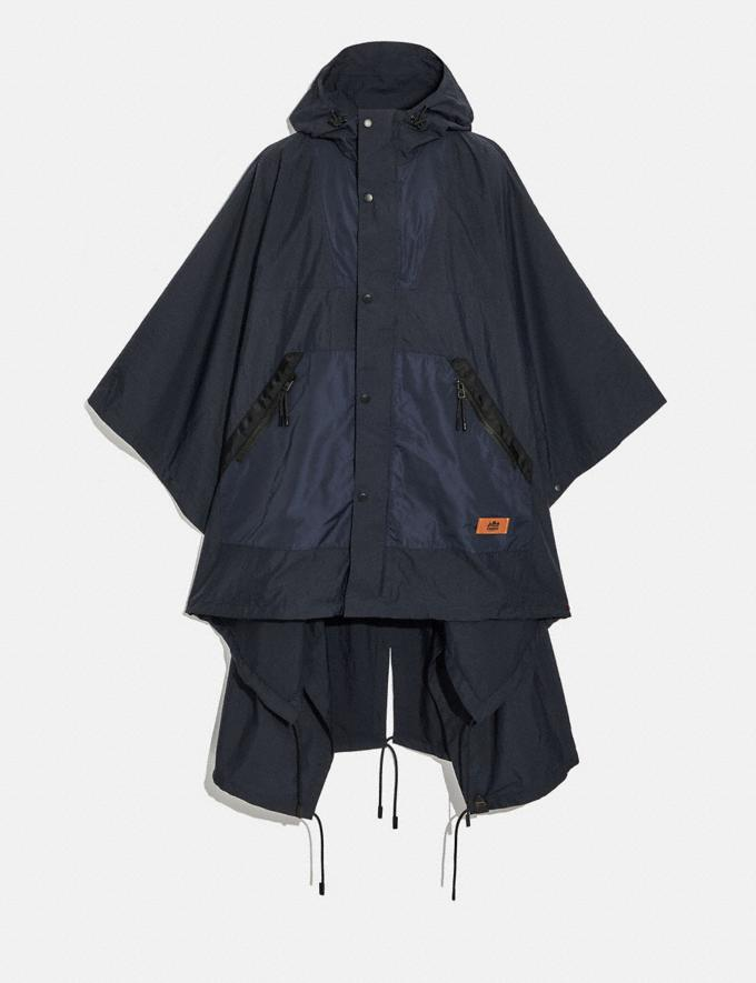 Coach Packable Poncho Navy/Black Men Ready-to-Wear Coats & Jackets