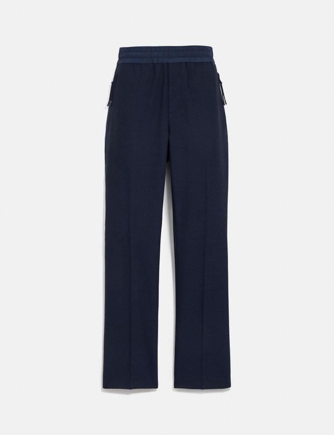 Coach Pleated Pants Navy Men Ready-to-Wear Tops & Bottoms