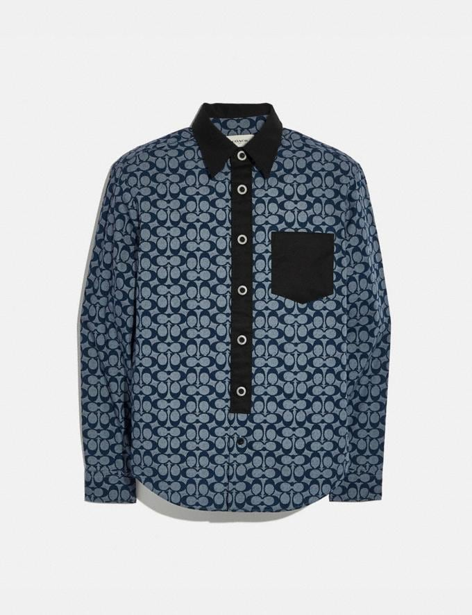Coach Long Sleeve Shirt Chambray Signature Men Ready-to-Wear Tops & Bottoms
