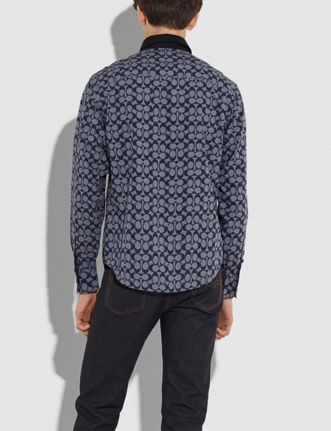 Coach Long Sleeve Shirt Chambray Signature Men Ready-to-Wear Tops & Bottoms Alternate View 2