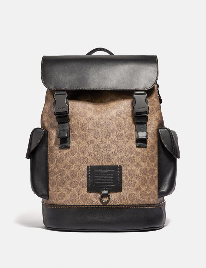 Coach Rivington Backpack in Signature Canvas Khaki/Black Copper Men Bags Backpacks