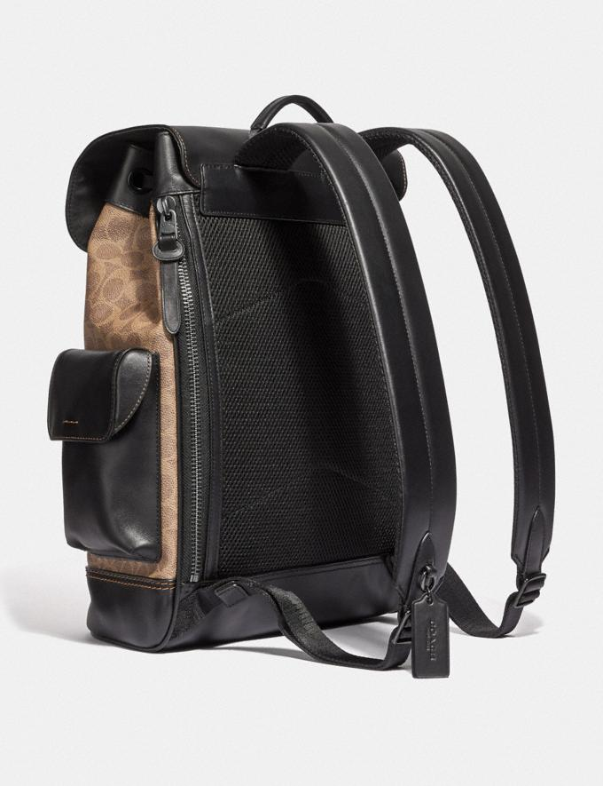 Coach Rivington Backpack in Signature Canvas Khaki/Black Copper Men Bags Backpacks Alternate View 1
