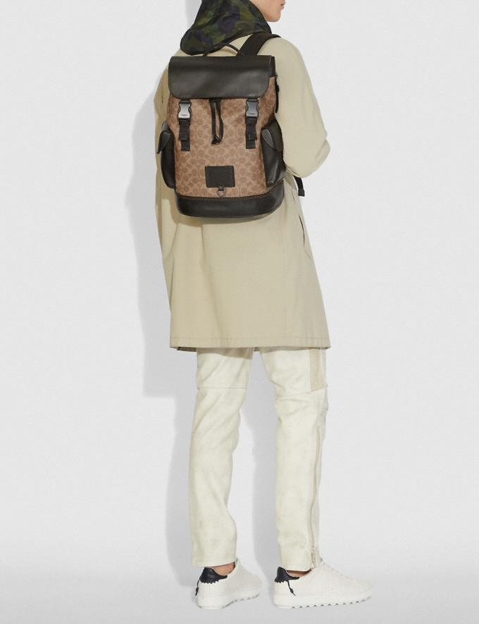 Coach Rivington Backpack in Signature Canvas Khaki/Black Copper Men Bags Backpacks Alternate View 4