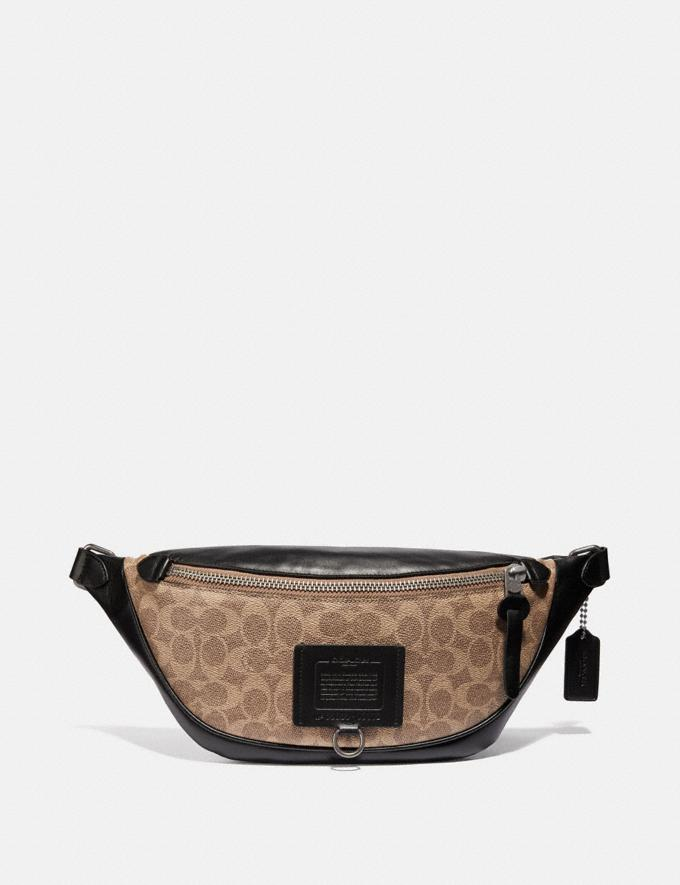 Coach Rivington Belt Bag in Signature Canvas Khaki/Black Copper Women Handbags Belt Bags