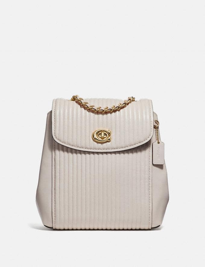 Coach Parker Convertible Backpack With Quilting Chalk/Brass Women Bags