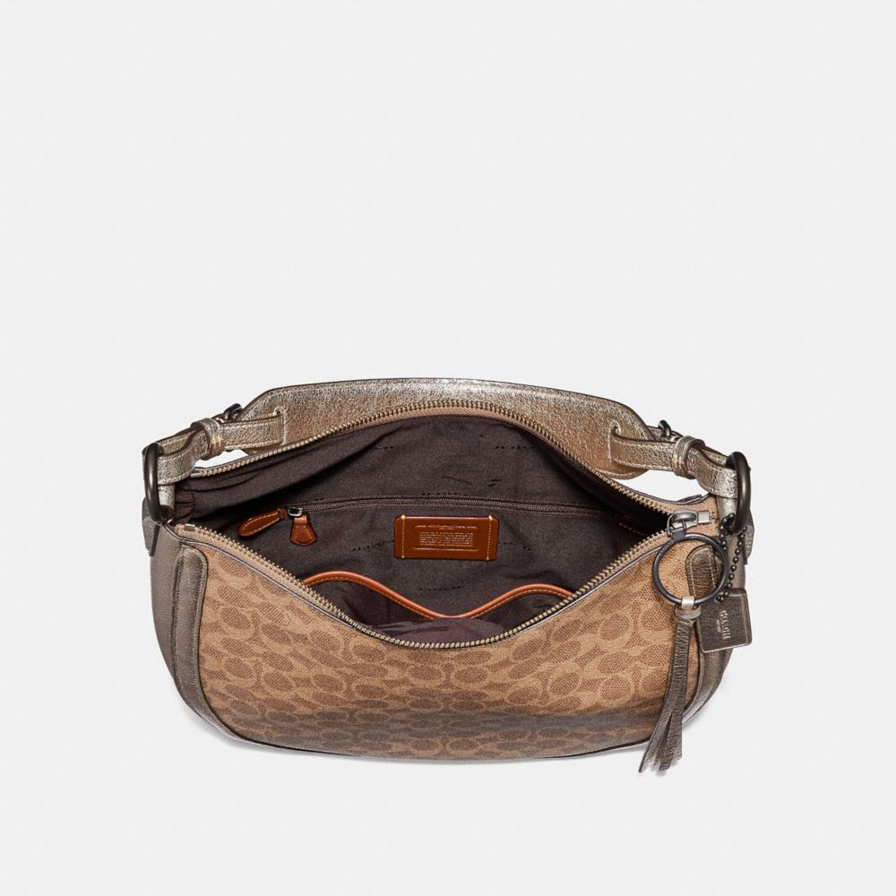 Coach Sutton Hobo in Signature Canvas With Snakeskin Detail Alternate View 2