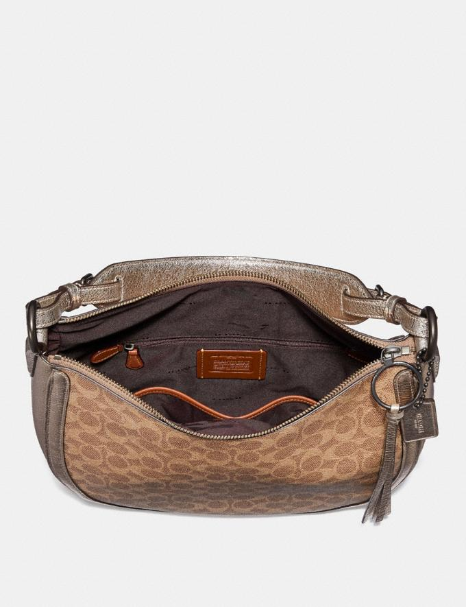 Coach Sutton Hobo in Signature Canvas With Snakeskin Detail Charcoal/Metallic Graphite/Brass Bags Alternate View 2