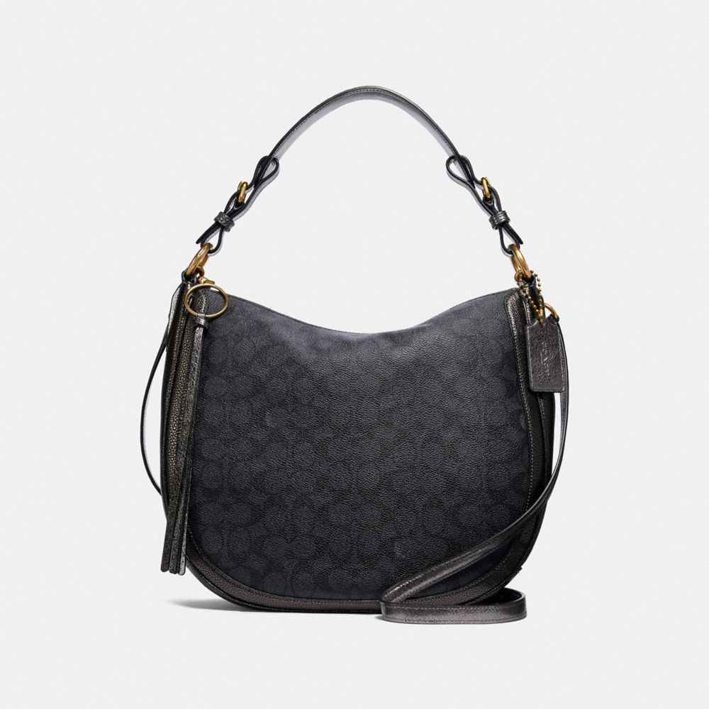Coach Sutton Hobo in Signature Canvas With Snakeskin Detail