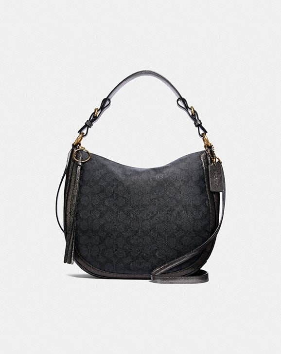 d4153fd40f8b COACH  Sutton Hobo in Signature Canvas With Snakeskin Detail