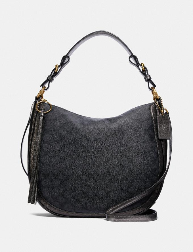 Coach Sutton Hobo in Signature Canvas With Snakeskin Detail Charcoal/Metallic Graphite/Brass Bags