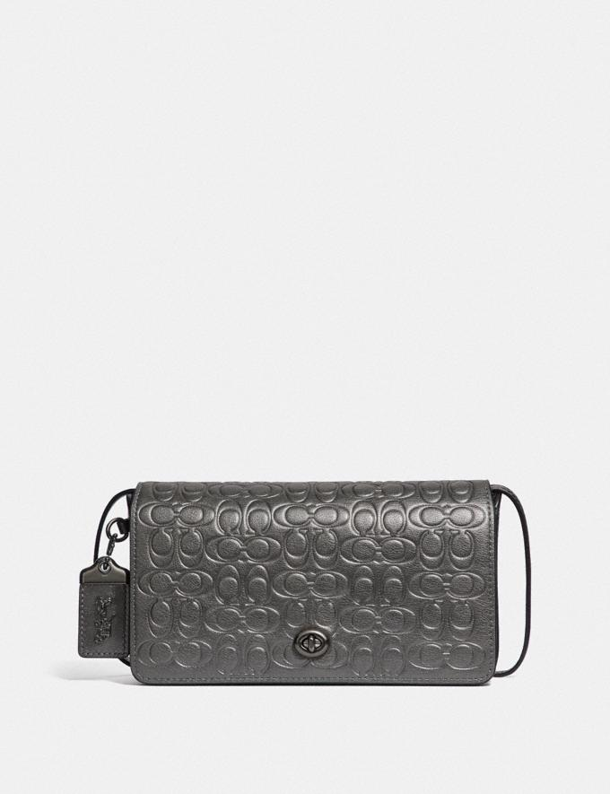Coach Dinky in Signature Leather Metallic Graphite/Pewter Women Collection Signature