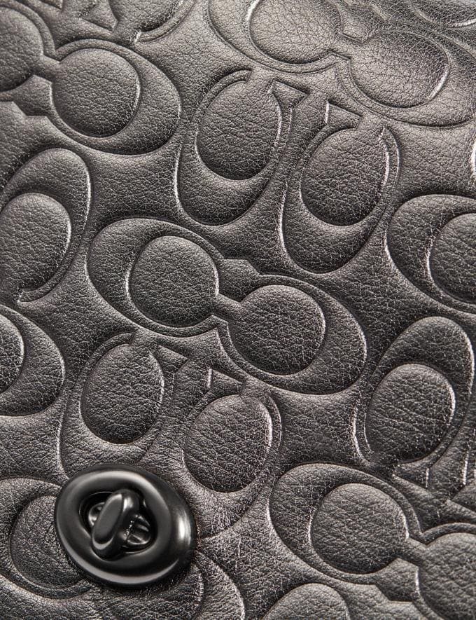 Coach Dinky in Signature Leather Metallic Graphite/Pewter Women Collection Signature Alternate View 5