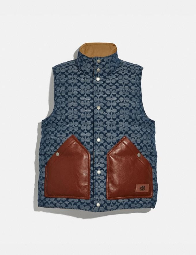 Coach Reversible Vest Chambray Signature/Khaki Men Ready-to-Wear
