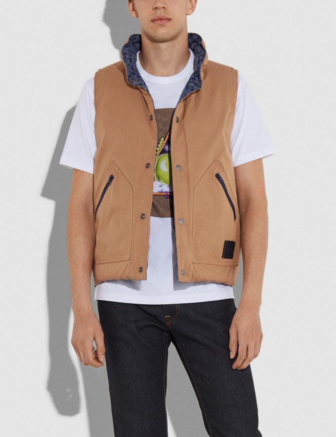 Coach Reversible Vest Chambray Signature/Khaki Men Ready-to-Wear Tops & Bottoms Alternate View 3