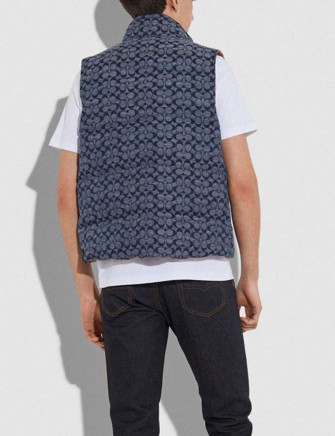 Coach Reversible Vest Chambray Signature/Khaki Men Ready-to-Wear Alternate View 4