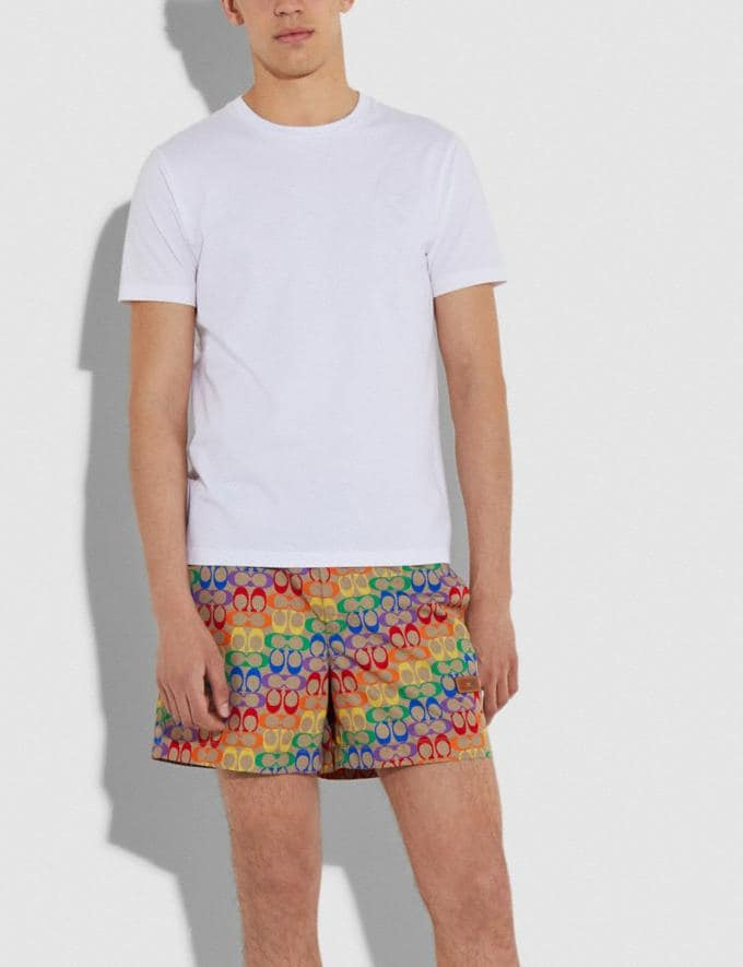 Coach Rainbow Signature Swim Trunks Rainbow Signature Men Ready-to-Wear Tops & Bottoms Alternate View 1