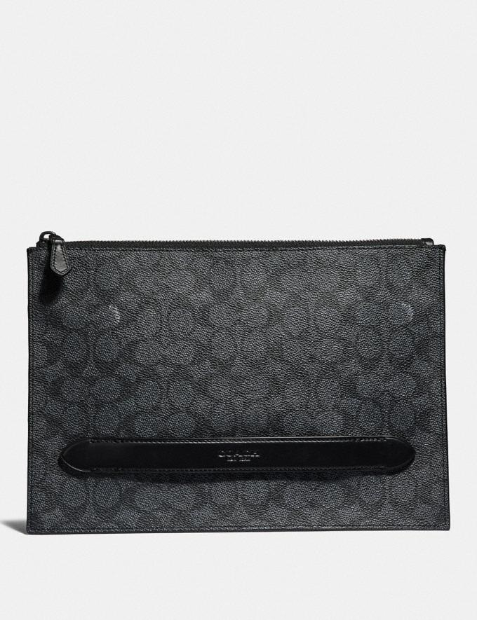 Coach Manhattan Pouch in Signature Canvas Charcoal Men Bags Pouches