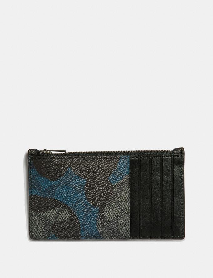 Coach Zip Card Case in Signature Wild Beast Print Charcoal Men Wallets Card Cases