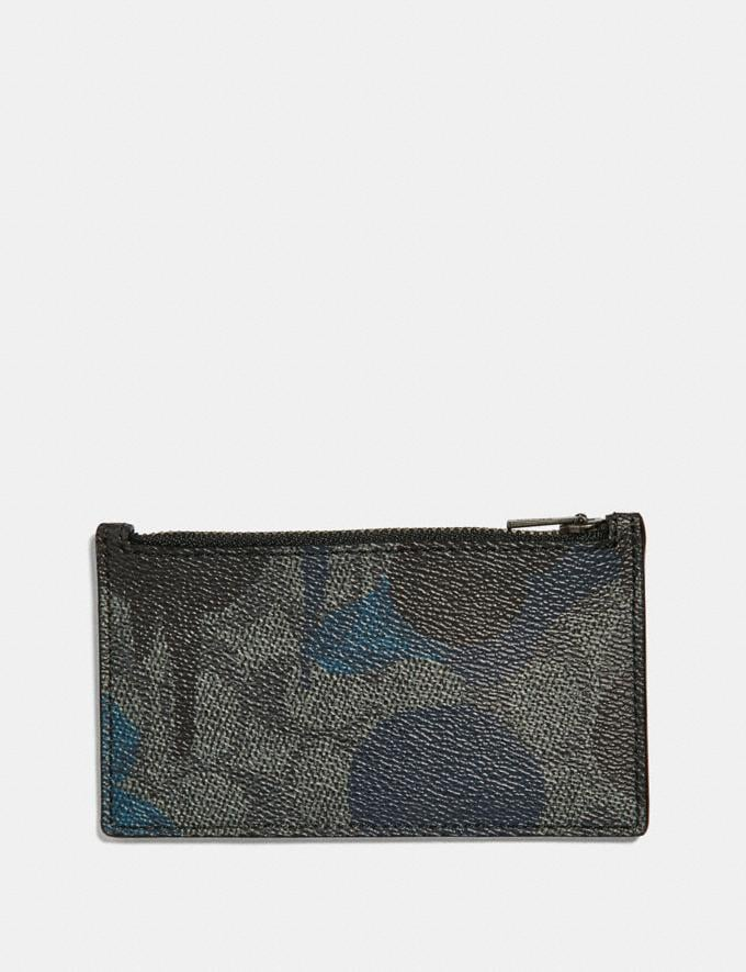 Coach Zip Card Case in Signature Wild Beast Print Charcoal Men Wallets Card Cases Alternate View 1