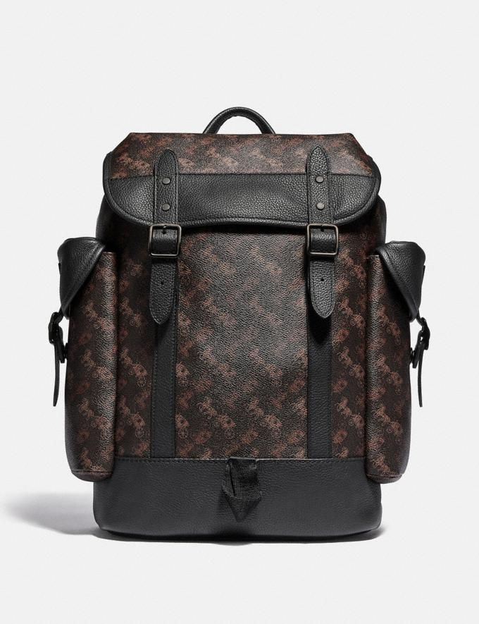 Coach Hitch Backpack With Horse and Carriage Print Black Copper/Truffle Men Bags Backpacks