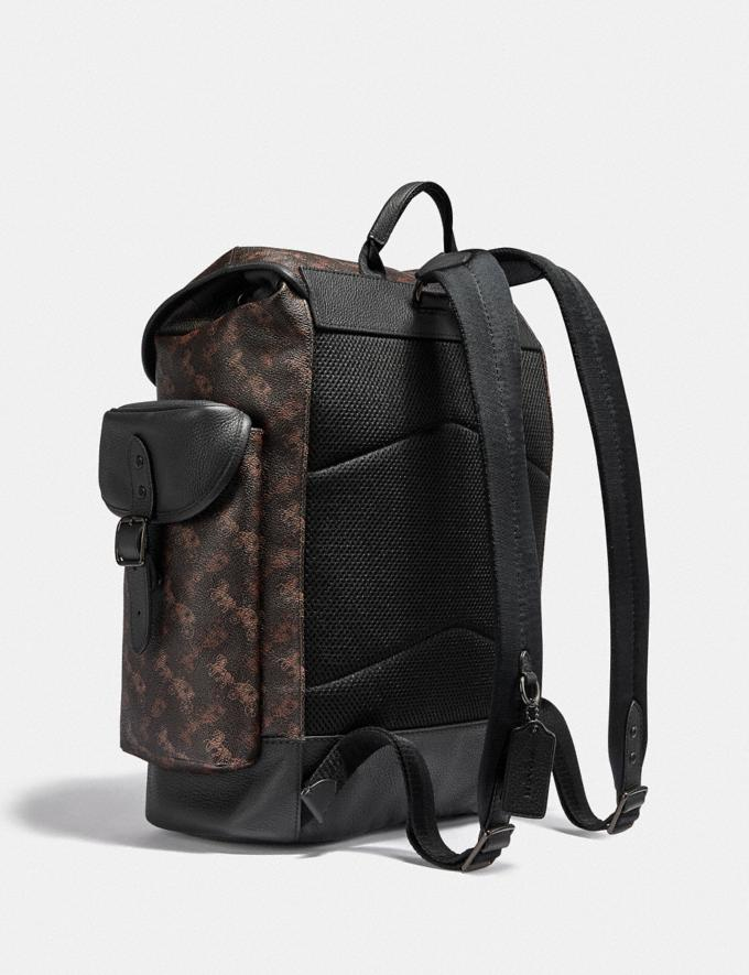 Coach Hitch Backpack With Horse and Carriage Print Black Copper/Truffle Men Bags Backpacks Alternate View 1