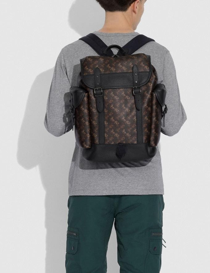 Coach Hitch Backpack With Horse and Carriage Print Black Copper/Truffle Men Bags Backpacks Alternate View 3