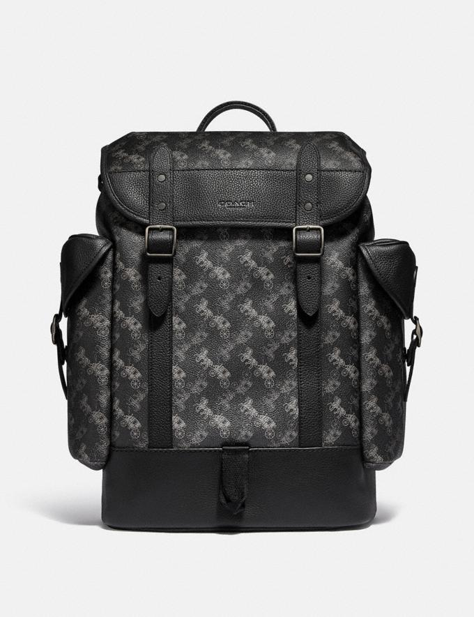 Coach Hitch Backpack With Horse and Carriage Print Black Copper/Charcoal Men Bags Backpacks