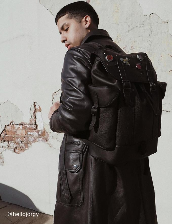 Coach Hitch Backpack With Horse and Carriage Print Black Copper/Charcoal Men Bags Backpacks Alternate View 4
