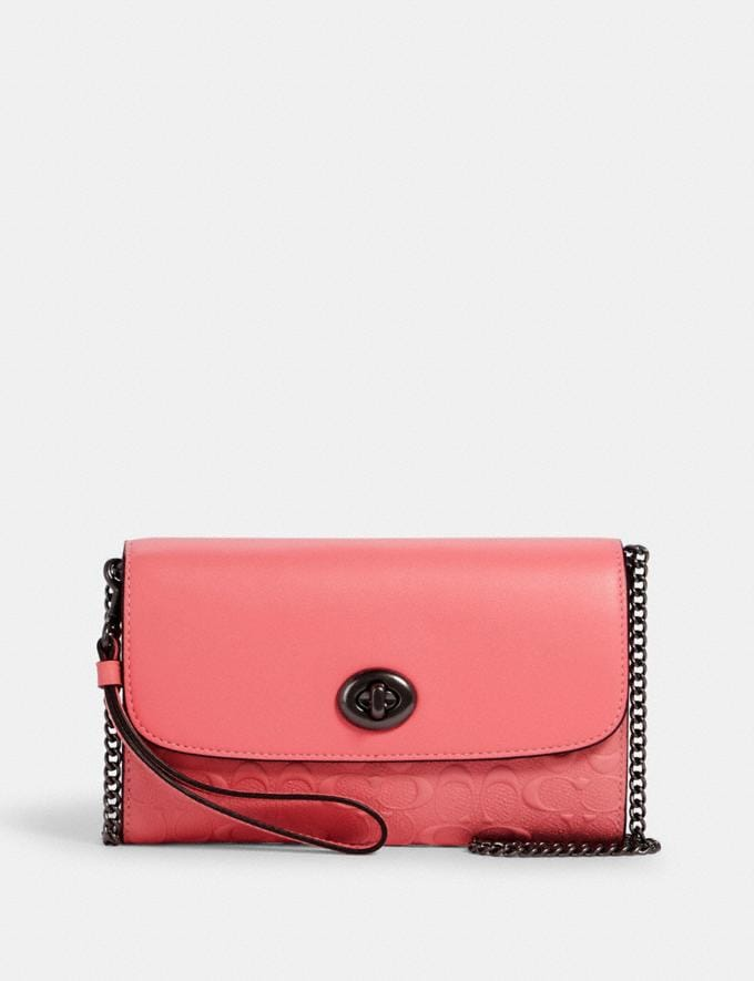 Coach Chain Crossbody in Signature Leather Qb/Pink Lemonade