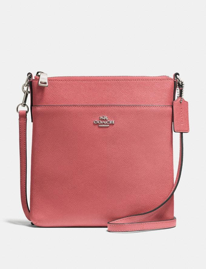 Coach Kitt Messenger Crossbody Bright Coral/Silver Women Bags Crossbody Bags