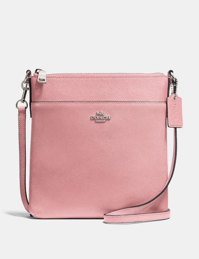 Coach Kitt Messenger Crossbody Bright Coral/Silver SALE Women's Sale Wallets & Wristlets