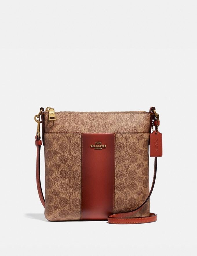 Coach Kitt Messenger Crossbody in Colorblock Signature Canvas Tan/Rust Women Bags Signature Bags
