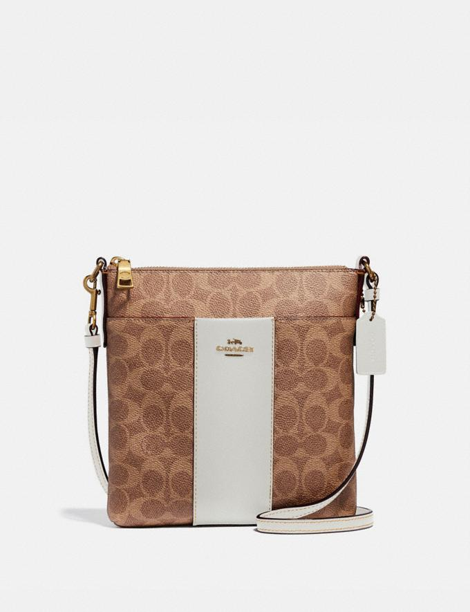 Coach Messenger Crossbody in Colorblock Signature Canvas Tan/Chalk/Brass Women Bags Crossbody Bags