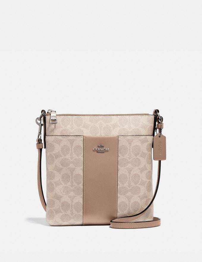 Coach Kitt Messenger Crossbody in Colorblock Signature Canvas Light Nickel/Sand Taupe Women Collection Signature