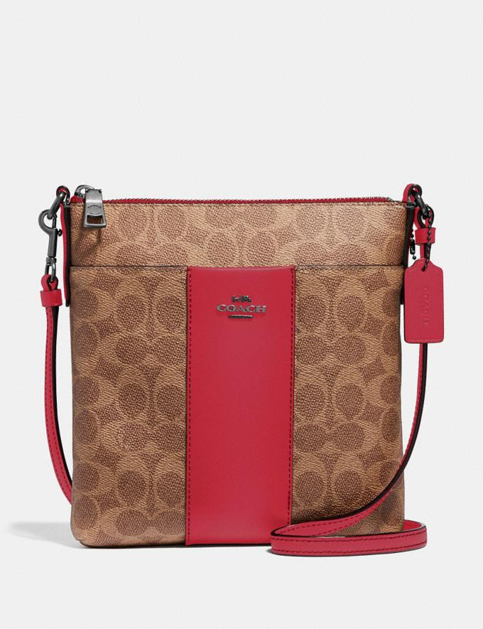 Coach Kitt Messenger Crossbody in Colorblock Signature Canvas Pewter/Tan Red Apple Gifts For Her