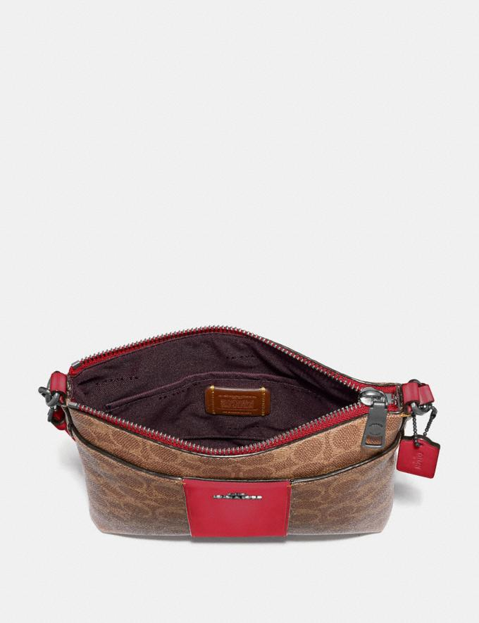 Coach Kitt Messenger Crossbody in Colorblock Signature Canvas Pewter/Tan Red Apple Gifts For Her Alternate View 1