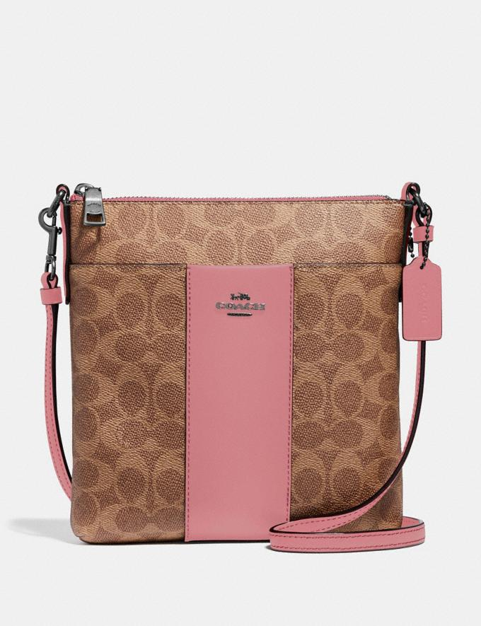 Coach Kitt Messenger Crossbody in Colorblock Signature Canvas Pewter/Tan True Pink Gifts For Her