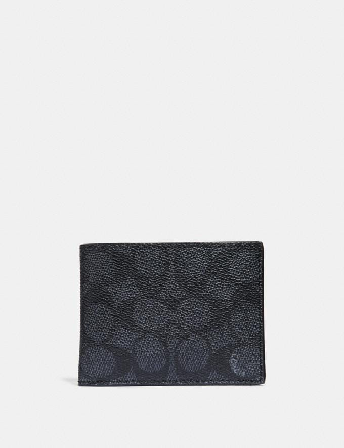Coach Slim Billfold Wallet in Signature Canvas Charcoal New Men's New Arrivals Wallets