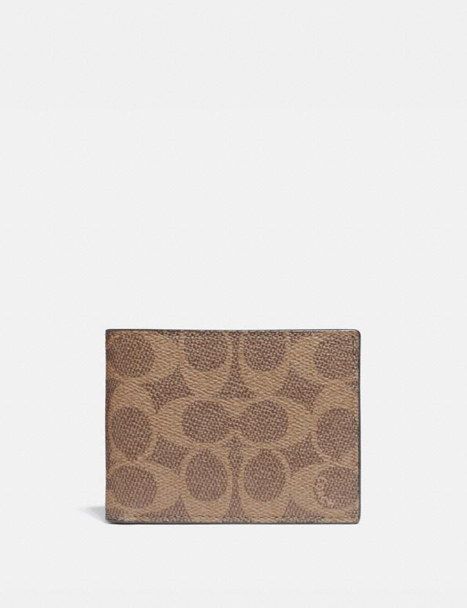 Coach Slim Billfold Wallet in Signature Canvas Khaki Gifts For Him Under $300