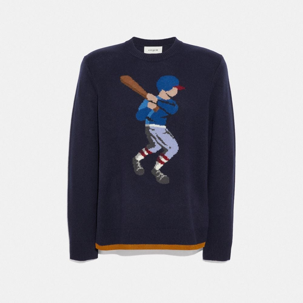 Coach Baseball Intarsia Sweater