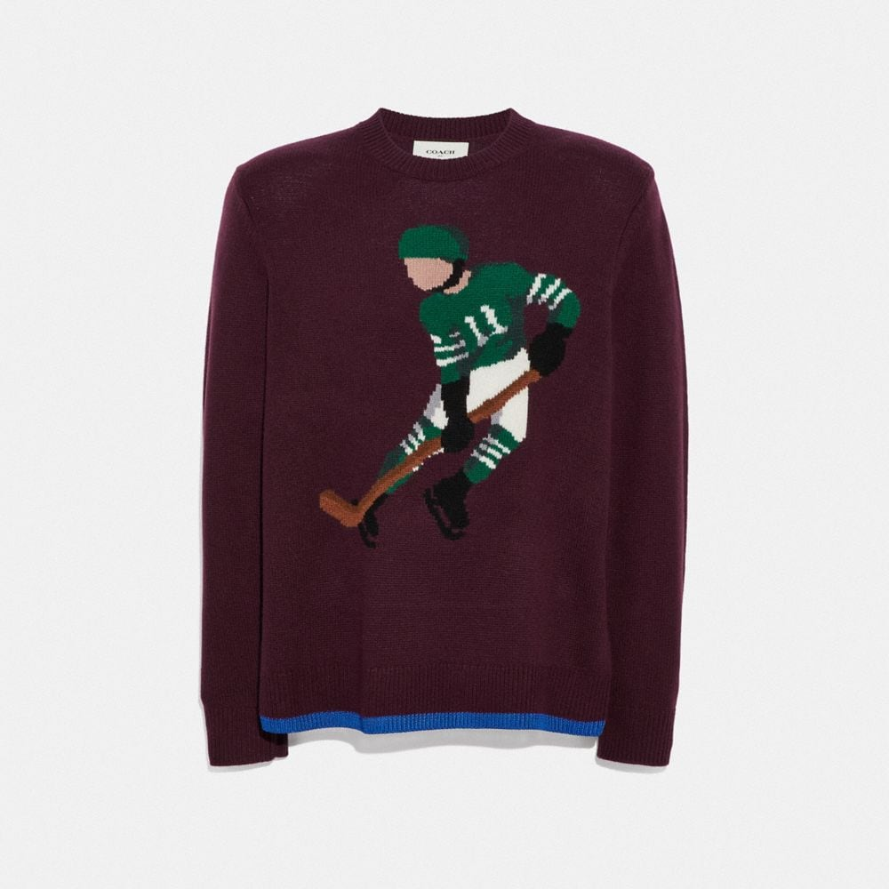 Coach Hockey Intarsia Sweater