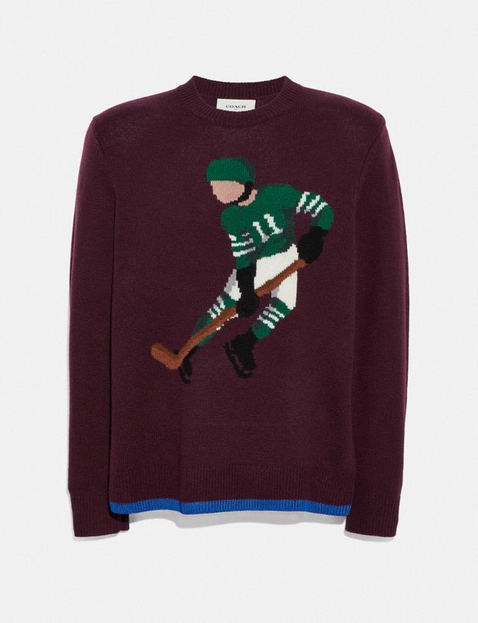 Coach Hockey Intarsia Sweater Burgundy