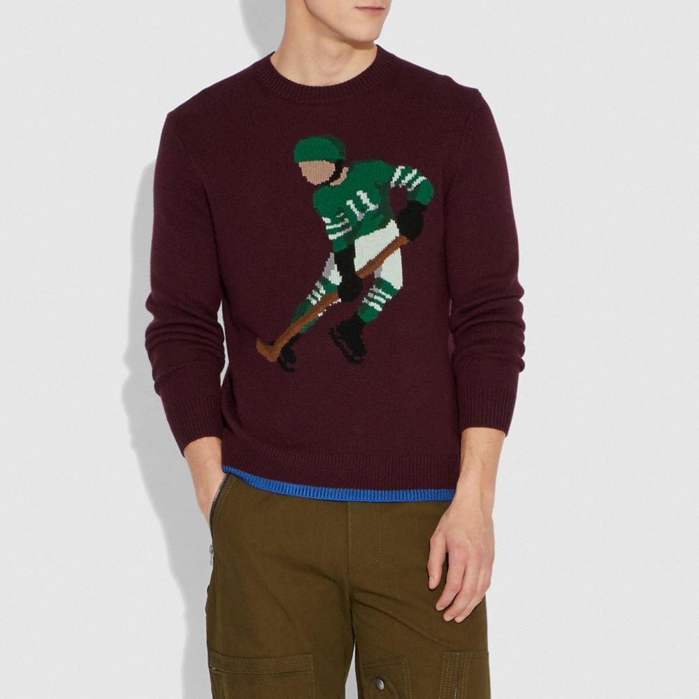 Coach Hockey Intarsia Sweater Alternate View 1