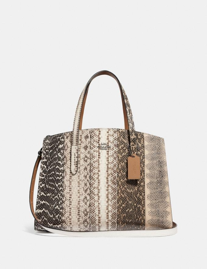 Coach Charlie Carryall in Ombre Snakeskin Gunmetal/Natural Women Bags Satchels