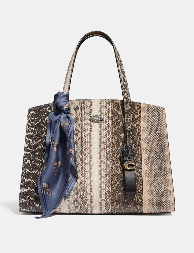 Coach Charlie Carryall in Ombre Snakeskin Gunmetal/Natural Women Bags Satchels Alternate View 3