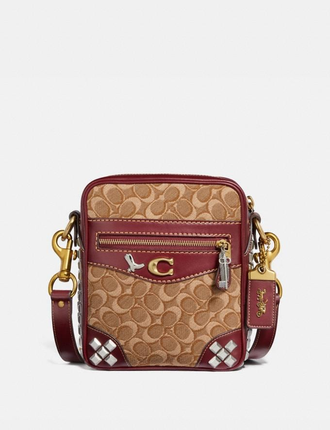 Coach Max Crossbody 18 in Signature Jacquard With Pyramid Rivets Khaki/Scarlet/Brass Men Bags Messenger & Crossbody