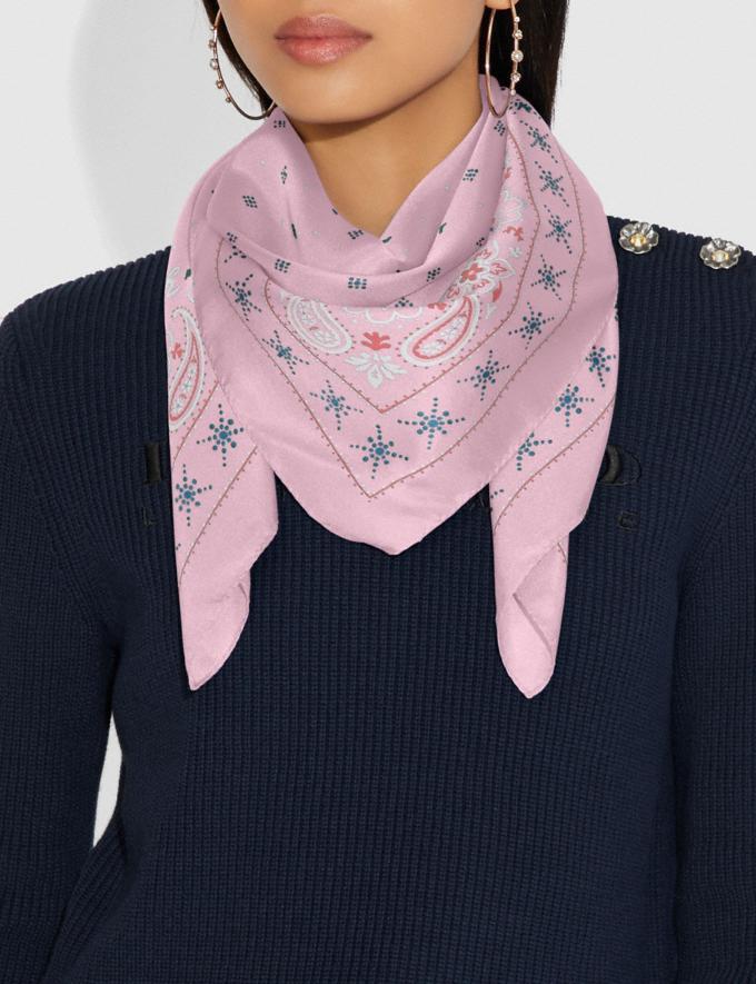 Coach Bandana Print Silk Square Scarf Blossom Women Accessories Scarves Alternate View 1
