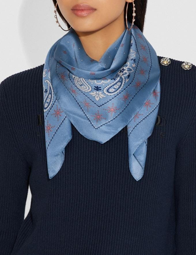 Coach Bandana Print Silk Square Scarf Slate Women Accessories Hats Scarves and Gloves Alternate View 1