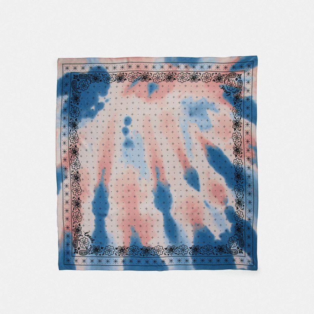 tie dye bandana print silk square scarf